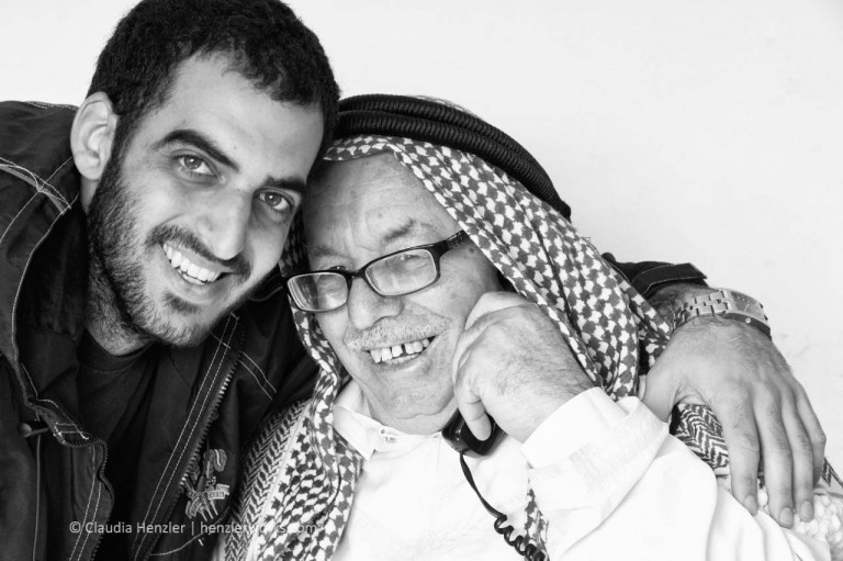 """Friends"", Peacemaker Ibrahim Abu el Hawa with a young israel friend at his house on the mount of olives, Jerusalem, 2010"